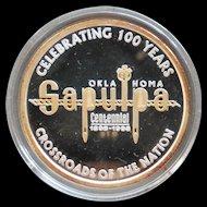 Rare Sapulpa Oklahoma Commemorative .999 Silver 24K Gold One Ounce Art Round Trolley and Rail