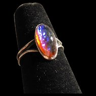 Vintage 1920's Era Dragon's Blood Opal Glass Sterling Silver Fancy Ladies Ring