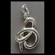 Sterling Silver Necklace Enhancer Letter B Pearl or Bead Dangle Pendant Nice