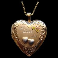 Delightful Gold Filled Heart Shape Locket Tri-Color Engraved I LOVE YOU Lovely