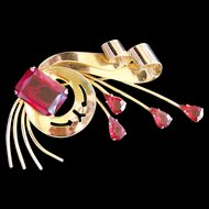 Sensational Huge Vintage Sterling Silver Gold Gilt Red Simulated Ruby Glass Brooch Pin