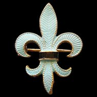 Antique Fleur De Lis Blue And Black Enamel Lapel Watch Pin Brooch