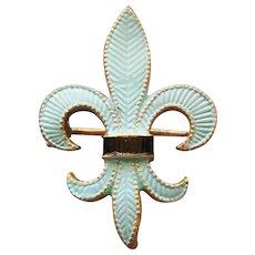 Antique Fleur De Lis Blue And Black Enamel Lapel Watch Pin Brooch