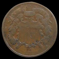 1868 Two Cent Piece Post Civil War Coin Old Nice