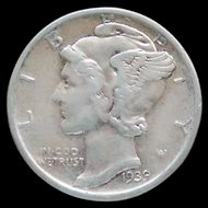 1939-S Mercury Head Dime With Traces of Luster Nice Grade
