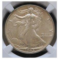 1945-P Walking Liberty Half Dollar Slabbed NGC AU53 High Grade
