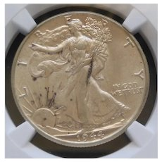 1944-P Walking Liberty Half Dollar Slabbed NGC AU55 High Grade