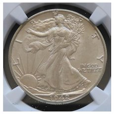 1942-D Walking Liberty Half Dollar Slabbed NGC AU58 High Grade