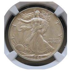 1942-P Walking Liberty Half Dollar Slabbed NGC AU58 High Grade