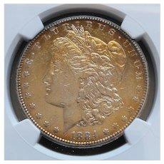 1884-S Morgan Silver Dollar Slabbed NGC AU Details Gold Toning Nice