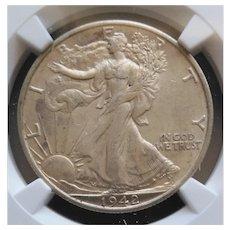 1942-S Walking Liberty Half Dollar Slabbed NGC AU58 High Grade