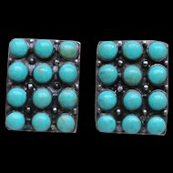 Turquosie Sterling Silver Indian Style Rectangle Earrings