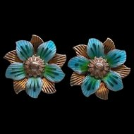 Sterling Silver Gold Wash Enamel Flower Earrings ScrewBack