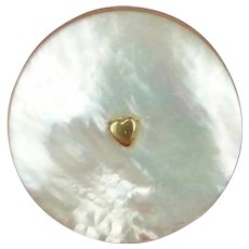 France c1800 Gold Heart and Fittings Mother of Pearl Shell Bead Pot - Sewing Collectables