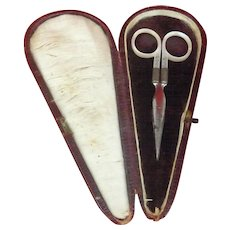 French c1890 Mother of Pearl Handled Sewing Scissors - Make an Offer