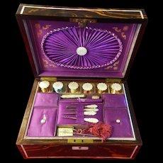 English c 1860 Mother of Pearl Sewing or Needlework Set in Rare Coromandel Wood Box