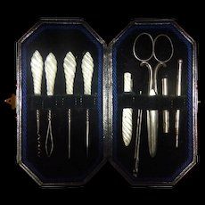 English Sewing or Needlework Set with Unusual Carved Mother of Pearl Handles
