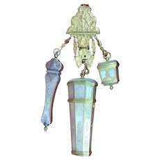 Mother Of Pearl Shell Sewing Chatelaine -C 1750 .
