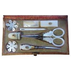Boxed Palais Royal Mother of Pearl Shell Sewing Set c1820