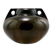 """Fulper 6"""" x 7.5"""" Ball Urn 1917-1934 In Mahogany Over Cats Eye Flambe Glazes Mint"""