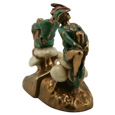 Marion Bronze 'Peter Pan' Polychrome Bookends c1935