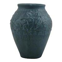 "Rookwood Production 7.25"" Vase Hibiscus Sallie Toohey Design 1928 In Blue Glazes"