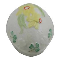 Belleek Ireland Egg Trinket Box with Daffodil and Clovers