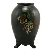 """Owens 'Lightweight' 6.25"""" Footed Vase By Harry Robinson Whispy Blossoms/Leaves"""