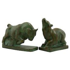 J.F. Company 'Bull & Bear' Verdigris Bookends c1928