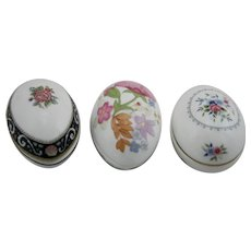 Wedgwood Ltd Edition Egg Trinket Boxes: Meadow Sweet, Runnymede Blue & Bouquet
