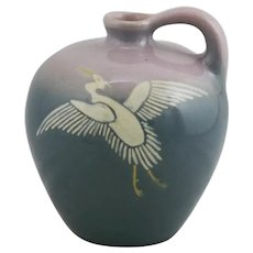 "Weller Jap Birdimal 6"" Jug With Crane in Flight A Frederick H. Rhead Design"
