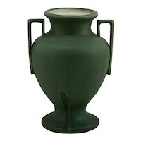 """Hampshire 10.5"""" Arts & Crafts Vase In Rich Matte Green With Boxy Handles"""