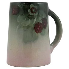 "Weller Eocean 6"" Mug W/Raspberries/Blossoms/Leaves In Charcoal/Pink Glazes"