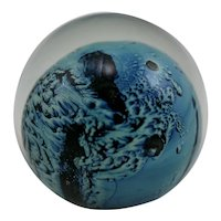 Josh Simpson Glass Paperweight Planet with Blue Ocean Mint