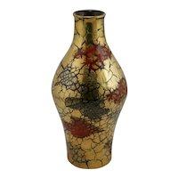 Elbee Pottery Italy Mid-Century Modern Gold Crackle Glaze Vase c1950s
