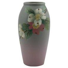 """Weller Hudson 7.25"""" Vase By Hester Pillsbury Dogwood Blossoms c1920s"""