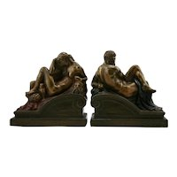 Armor Bronze 'Night & Day' Polychrome Bookends 1922