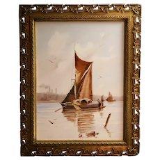 """European Ship Scenic Tile 23"""" x 17"""" in Ornate Hand-made Gilt Wood Frame c1850"""