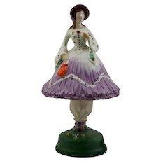 "Fulper Porcelaine Rare 12"" 'Demure' Lady Deco Style 2-Part Lamp In Orchid"