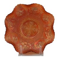 Carnival Glass Bowl with Dragon/Lotus Pattern in Marigold Iridescence