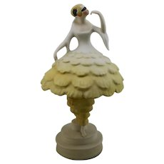 "Fulper Porcelaine 14"" 'The Mask' Lady Art Deco Boudoir Lamp In Yellow Glaze Mint"