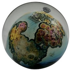 Josh Simpson Glass Paperweight Planet w/Spaceship/Trailing Comet