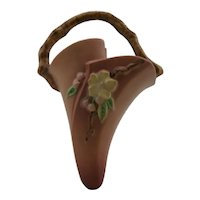 "Roseville Apple Blossom Wall Pocket Shape #366-8"" in Pink Blushed Glazes"