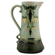 Austrian Faience Art Nouveau Porcelain Tankard/Pitcher w/Waterlilies c1890