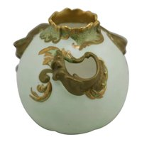 Royal Doulton Early Vase W/Three Cutouts c1891-1902 Soft Green Gold Leaf Accents