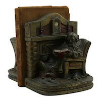 Armor Bronze 'Fireside Comfort' by G.S. Allen Polychrome Bookends 1930
