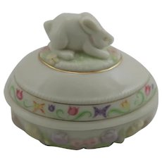 Lenox Bunny Egg Trinket Box with Tulips, Ribbons and Butterflies