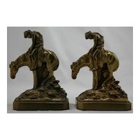 Ronson Metal Works 'End of Trail' Monochrome Bookends c1930