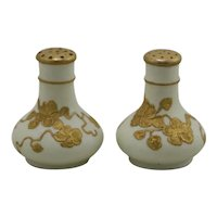 Royal Worcester Blush Ivory Tiny Salt & Pepper with Apple Blossom Gilt c1895