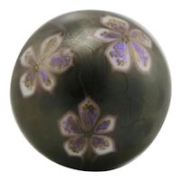 Orient & Flume Glass Paperweight With Flowers d1975 Iridized Bronze Colors Mint